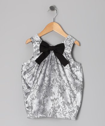 Silver Bow Shift Dress - Toddler