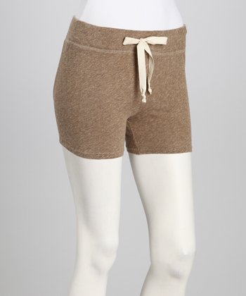 Brown Mélange Drawstring Shorts - Women