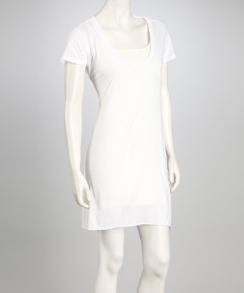 White T-Shirt Dress - Women