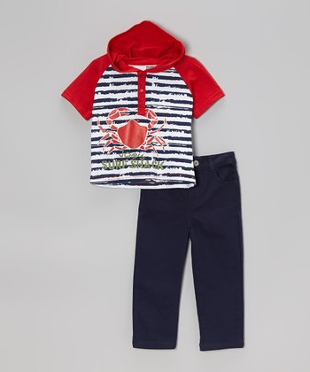 Peanut Buttons Red 'Stripe' Hooded Tee & Pants - Infant, Toddler & Boys