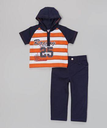 Peanut Buttons Orange 'Racing Team' Hooded Tee & Pants - Infant, Toddler & Boys