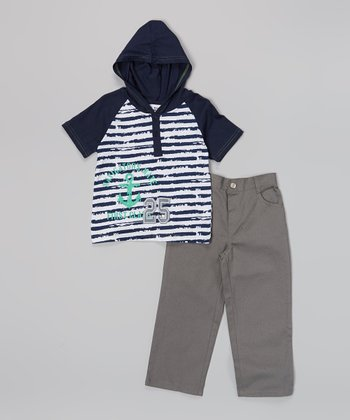 Peanut Buttons Navy Stripe Hooded Tee & Pants - Infant, Toddler & Boys
