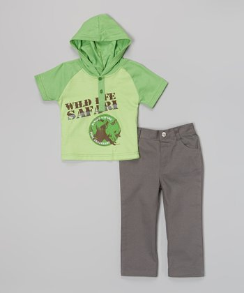 Peanut Buttons Green 'Safari' Hooded Tee & Pants - Infant, Toddler & Boys