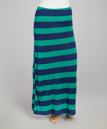 Green & Blue Stripe Maxi Skirt - Plus