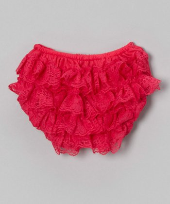 Hot Pink Lace Ruffle Diaper Cover
