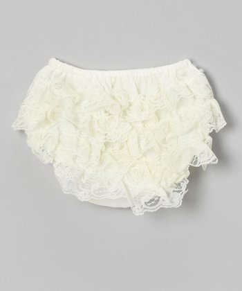 Ivory Lace Ruffle Diaper Cover - Infant