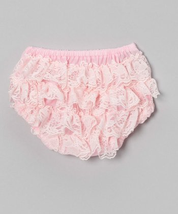 Light Pink Lace Ruffle Diaper Cover