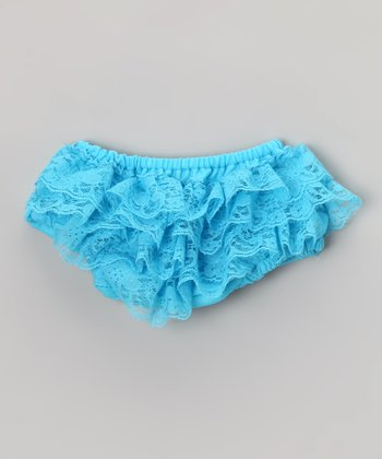 Turquoise Lace Ruffle Diaper Cover - Infant