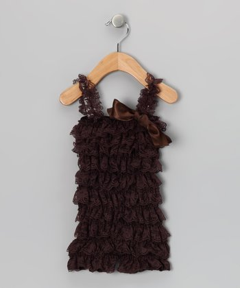 Chocolate Ruffle Romper - Infant & Toddler