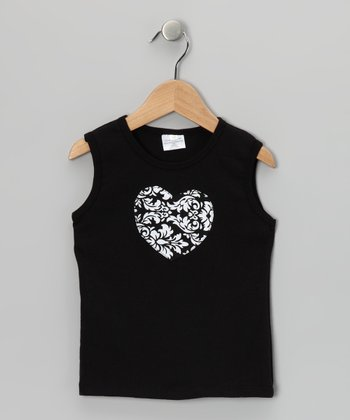 Black Damask Heart Tank - Toddler & Girls