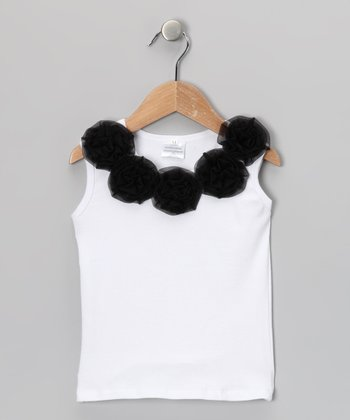 White & Black Rosette Tank - Infant, Toddler & Girls