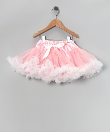 Light Pink & White Bow Pettiskirt - Infant, Toddler & Girls