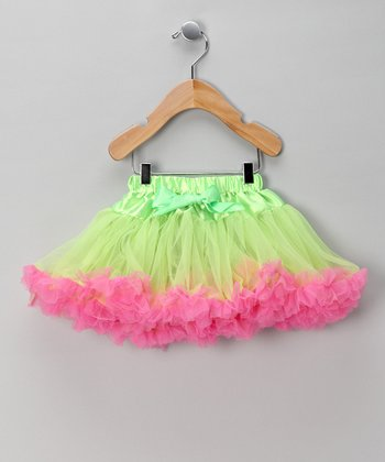 Lime & Hot Pink Bow Pettiskirt - Infant, Toddler & Girls