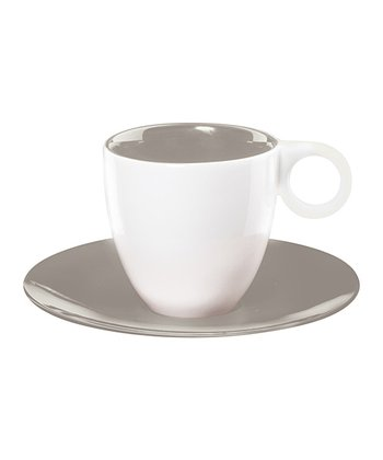 Gray Espresso Cup & Saucer - Set of Six