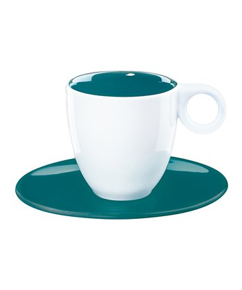 Teal Espresso Cup & Saucer - Set of Six