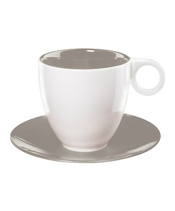 Gray Coffee Cup & Saucer - Set of Six