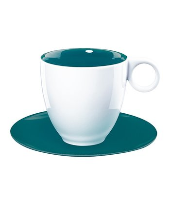 Teal Coffee Cup & Saucer - Set of Six