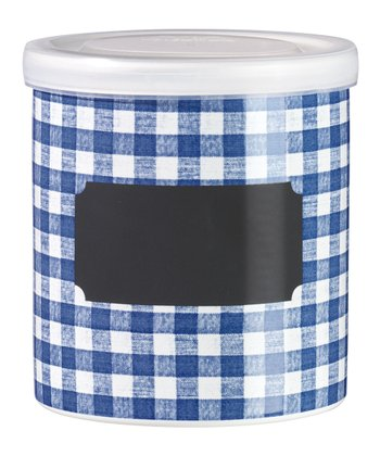 Blue Checkered Jar & Lid