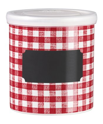 Red Checkered Jar & Lid