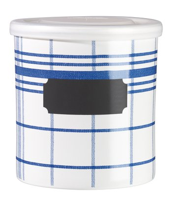 Blue & White Checkered Jar & Lid
