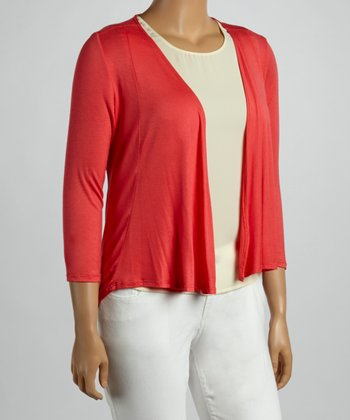 Coral Long-Sleeve Open Cardigan - Plus