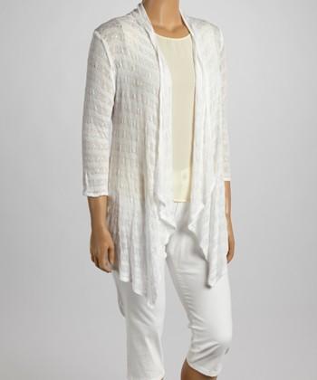 White Crochet Open Cardigan - Plus