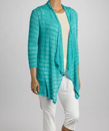 Mint Crochet Open Cardigan - Plus