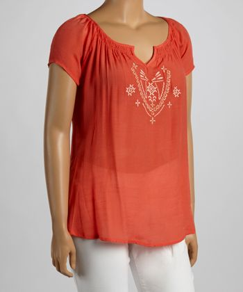 Coral Embroidered Peasant Top - Plus