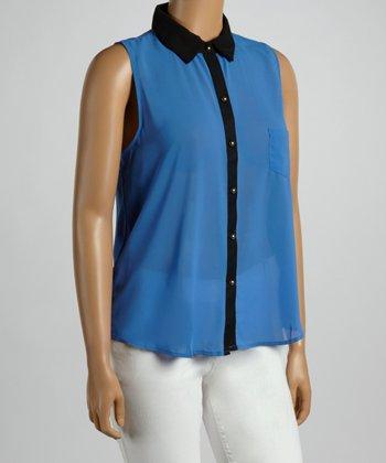 Royal Sleeveless Button-Up - Plus