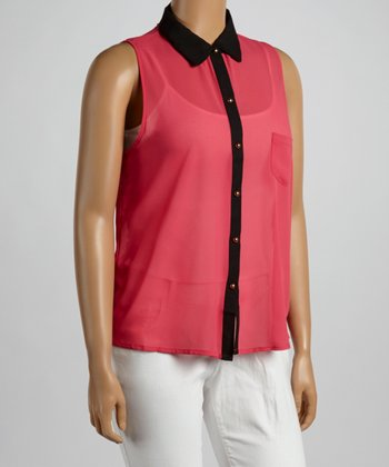 Coral Sleeveless Button-Up - Plus