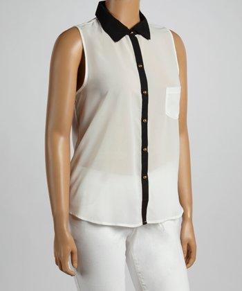 White Sleeveless Button-Up - Plus
