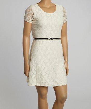 Ivory Lace Scoop Neck Dress - Plus