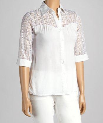 White Crochet Yoke Button-Up - Plus