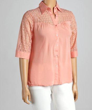 Peach Crochet Yoke Button-Up - Plus