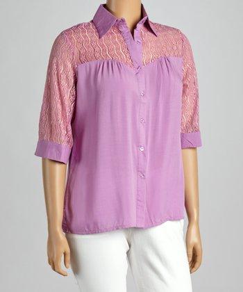Purple Crochet Yoke Button-Up - Plus