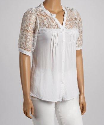 White Lace Yoke Button-Up - Plus