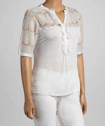 White Floral Lace V-Neck Top - Plus