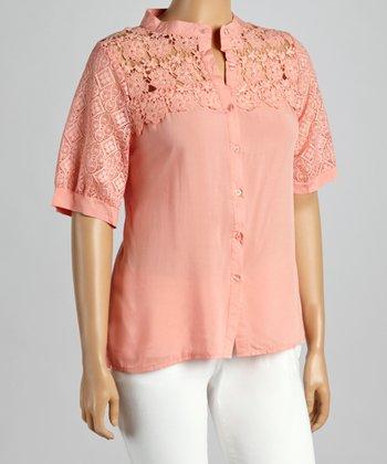 Peach Crochet Button-Up - Plus