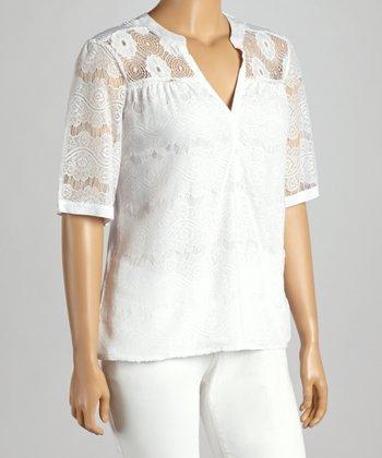 White Lace V-Neck Top - Plus