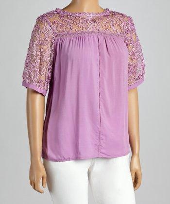 Purple Sheer Embroidered Yoke Top - Plus