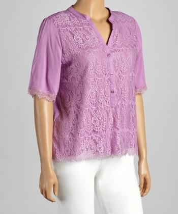Purple Lace V-Neck Top - Plus