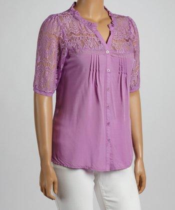 Purple Vintage Lace Yoke Button-Up - Plus