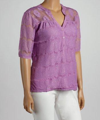 Purple Floral Lace V-Neck Top - Plus