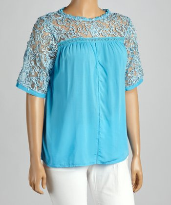 Turquoise Sheer Embroidered Yoke Top - Plus