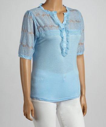 Light Blue Vintage Lace Yoke V-Neck Top - Plus