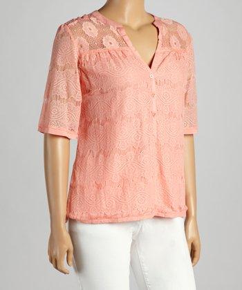 Peach Floral Lace V-Neck Top - Plus