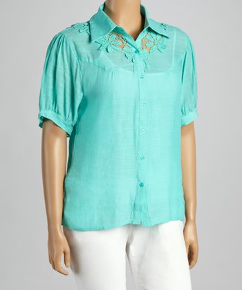 Green Aqua Floral Crocheted Button-Up - Plus