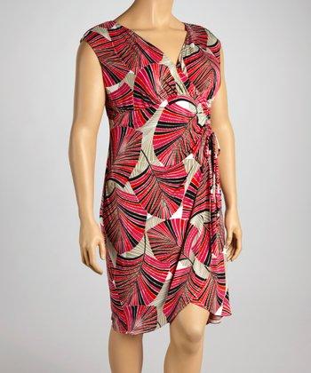 London Times Pink Palm Surplice Dress - Plus