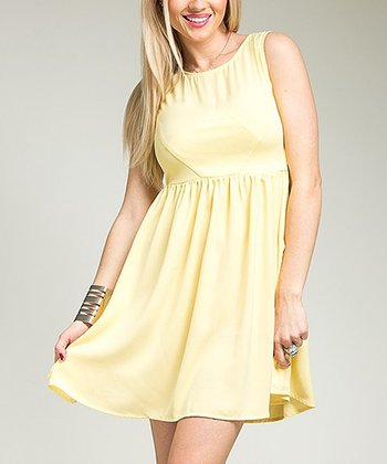 Yellow Empire-Waist Dress