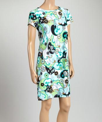 Blue & Black Paisley Key West Crewneck Dress